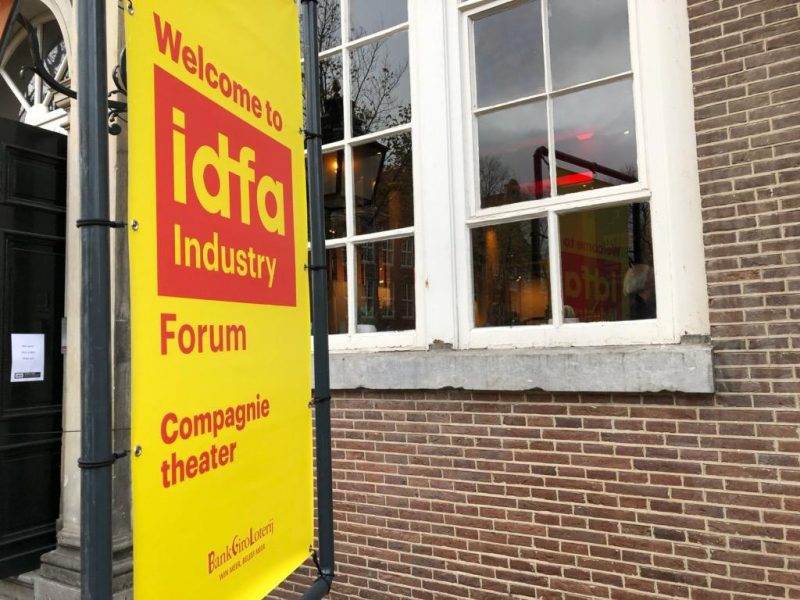 International Documentary Film Festival Amsterdam sign outside theater