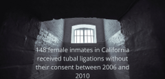"""Prison cell with the text """"148 female inmates in California received tubal ligations without their consent between 2006 and 2010"""" inside"""""""