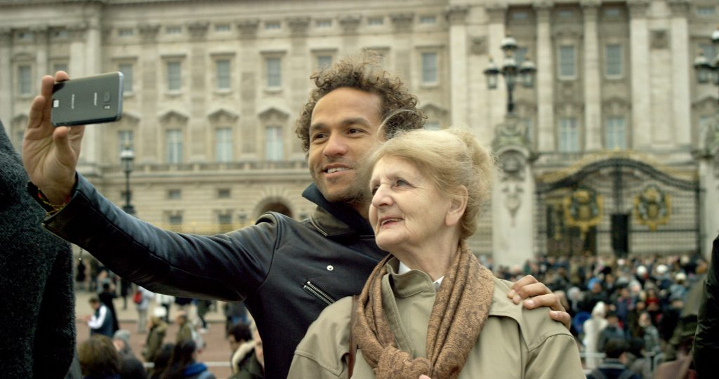 Rebecca and son taking a selfie while visiting Europe