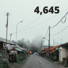 The number 4,645 over an image over a street in Puerto Rico where Hurricane Maria torn down houses and powerlines.