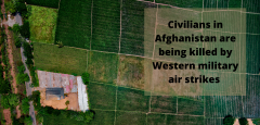 """Aerial photo of a field with the caption """"Civilians in Afghanistan are being killed by Western military air strikes."""""""